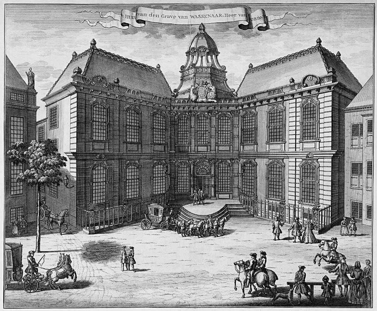 Paleis Kneuterdijk in 1730, kort na de bouw