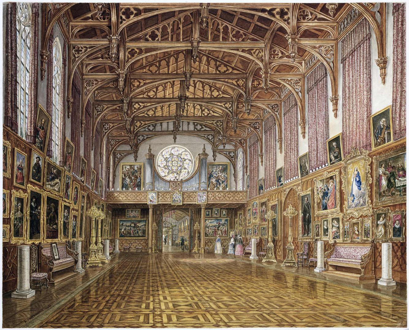 Interieur van de Gotische Zaal in 1846 getekend, door Augustus Wijnantz