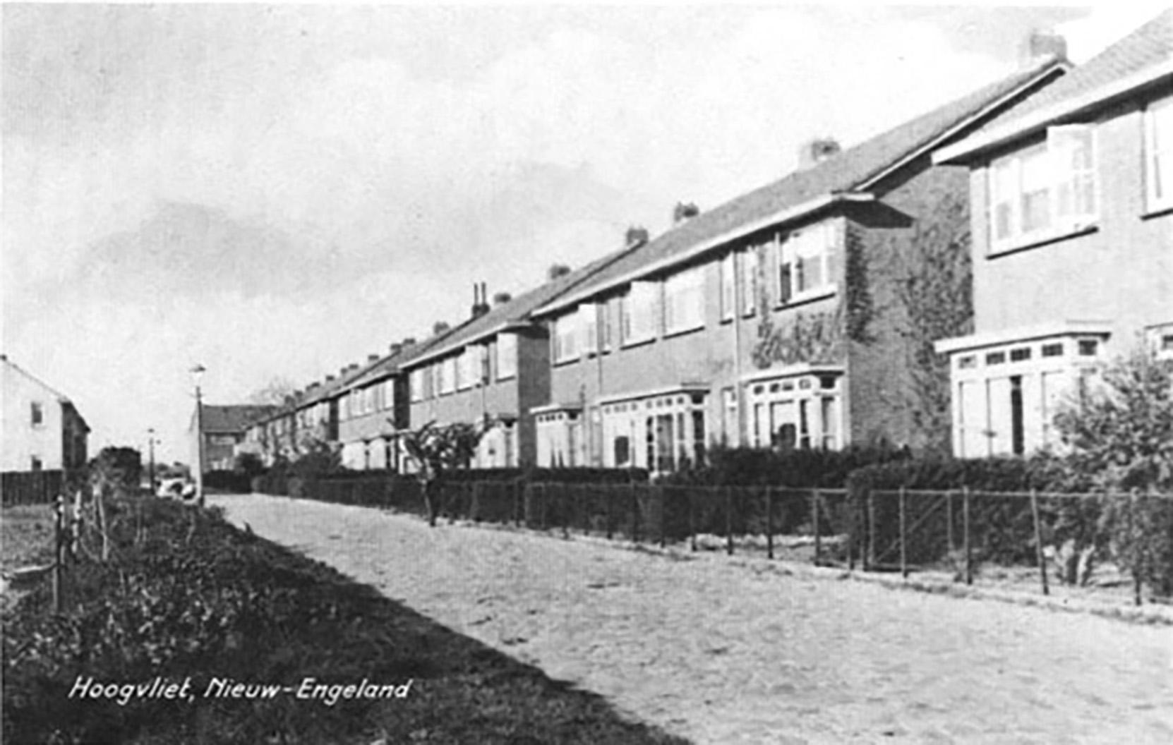 Huizen aan de straat Nieuw Engeland in 1955.
